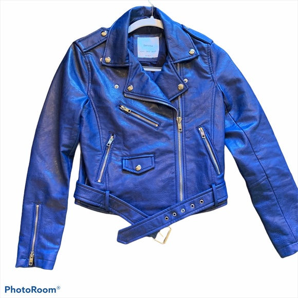 Bershka Blue Leather Jacket